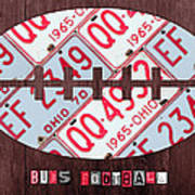 Ohio State Buckeyes Football Recycled License Plate Art Poster