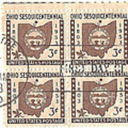 Ohio Three Cent Stamp Plate Block Poster