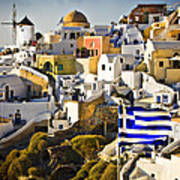 Oia And A Greek Flag Poster by Meirion Matthias
