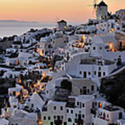 Oia Town During Sunset Poster