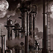 Oil Refinery With A Surreal Moonlight Poster