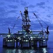 Oil Rig At Twilight Poster by Bradford Martin