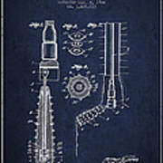 Oil Well Reamer Patent From 1924 - Navy Blue Poster