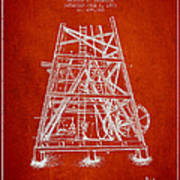 Oil Well Rig Patent From 1893 - Red Poster