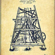 Oil Well Rig Patent From 1893 - Vintage Poster