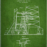 Oil Well Rig Patent From 1917- Green Poster