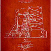Oil Well Rig Patent From 1917- Red Poster