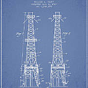 Oil Well Rig Patent From 1927 - Light Blue Poster