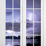 Old 16 Pane White Window Stormy Lightning Lake View Poster