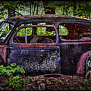 Old Abandoned Car In The Woods Poster