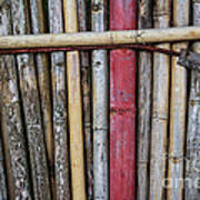 Old Bamboo Fence Poster by Niphon Chanthana