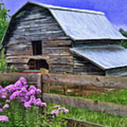 Old Barn And Flowers Poster