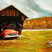 Old Barn And Red Truck Poster