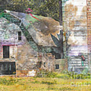 Old Barn And Silos Digital Paint Poster