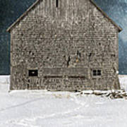 Old Barn In A Snow Storm Poster by Edward Fielding