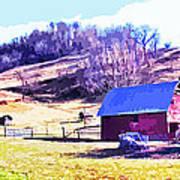Old Barn In November Filtered Poster