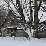 Old Barn In Winter Poster
