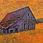 Old Barn Orange Poster