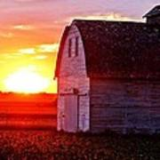 Old Barn Sunset Poster