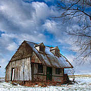 Old Barn Winter Poster