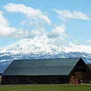 Old Barn With Mount Rainier View Poster