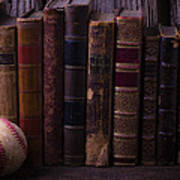 Old Baseball And Books Poster