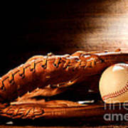 Old Baseball Glove Poster
