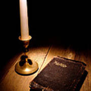 Old Bible And Candle Poster by Olivier Le Queinec