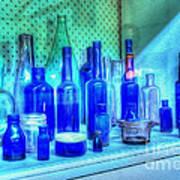 Old Blue Bottles Poster