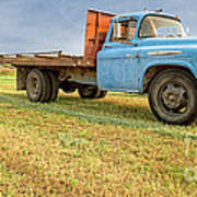 Old Blue Farm Truck Poster