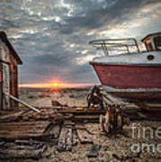 Old Boat At Sunset Poster by Ivor Toms