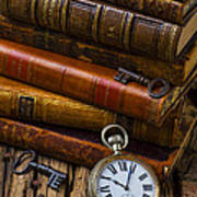 Old Books And Pocketwatch Poster