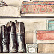 Old Boots And Boxes - On The Shelves Of A 19th Century General Store Poster by Gary Heller