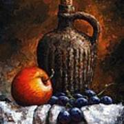 Old Bottle And Fruit Poster
