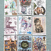 Old British Postage Stamps Poster
