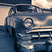 Old Car In Front Of Garage Poster