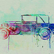 Old Car Watercolor Poster