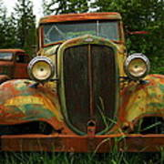 Old Cars Left To Decorate The Weeds Poster