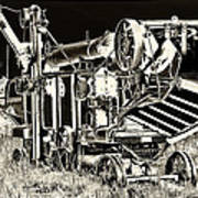 Old Case Thresher - Black And White Poster