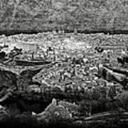 Old City Of Toledo Bw Poster
