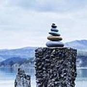 Old Concrete Jetty Posts Governors Bay Banks Peninsula New Zealand Poster