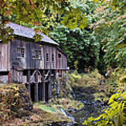 Old Creek Grist Mill In Autumn Poster