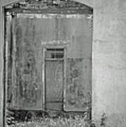 Old Doorway Bw Poster