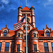 Old Dupage County Courthouse Flag Poster