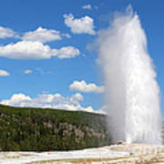 Old Faithful Geyser In Yellowstone National Park  Poster