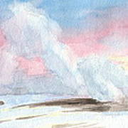 Old Faithful Sunrise Watercolor Painting Poster