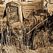 Old Farm Tractor In Sepia 1 Poster