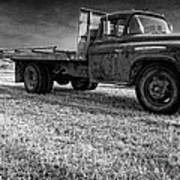 Old Farm Truck Black And White Poster