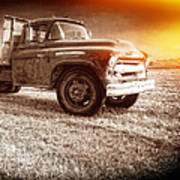 Old Farm Truck With Explosion At Night Poster