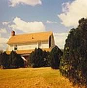 Old Farmhouse Landscape Poster